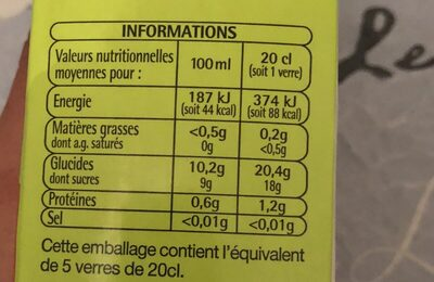 Jus d'Orange à base de jus concentré - Ingrediënten
