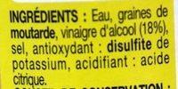 Moutarde de Dijon au Vinaigre - Ingrédients