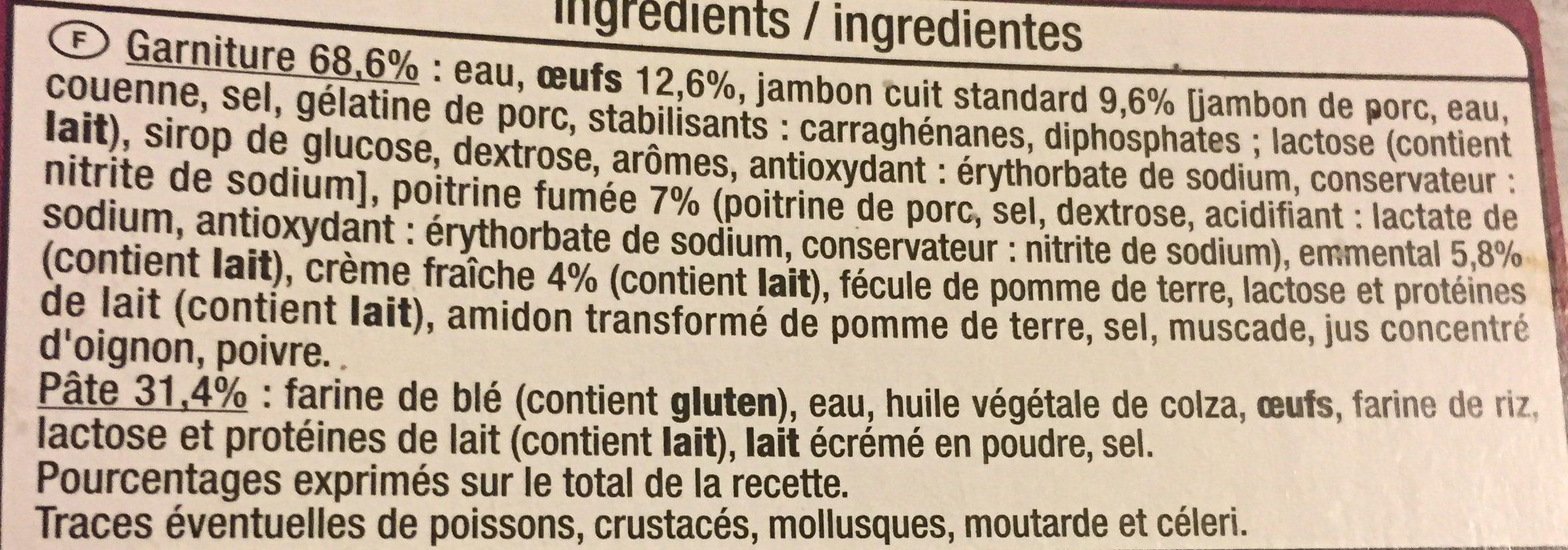 Quiche Lorraine à la Crème Fraîche - المكونات - fr