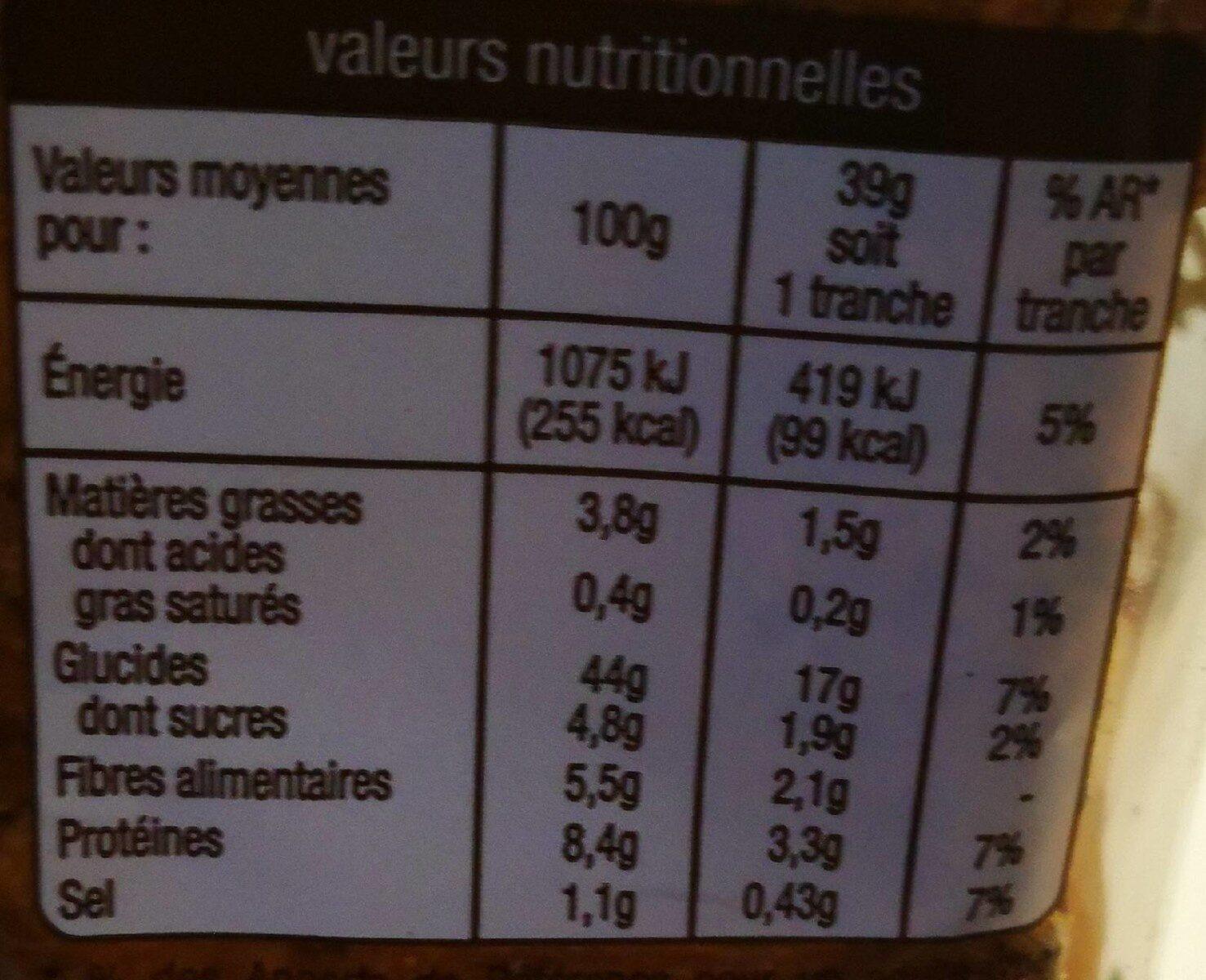 Pain de mie complet spécial sandwich - Nutrition facts - fr