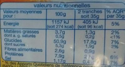 Cœur de mie - Extra moelleux - nature - Informations nutritionnelles - fr