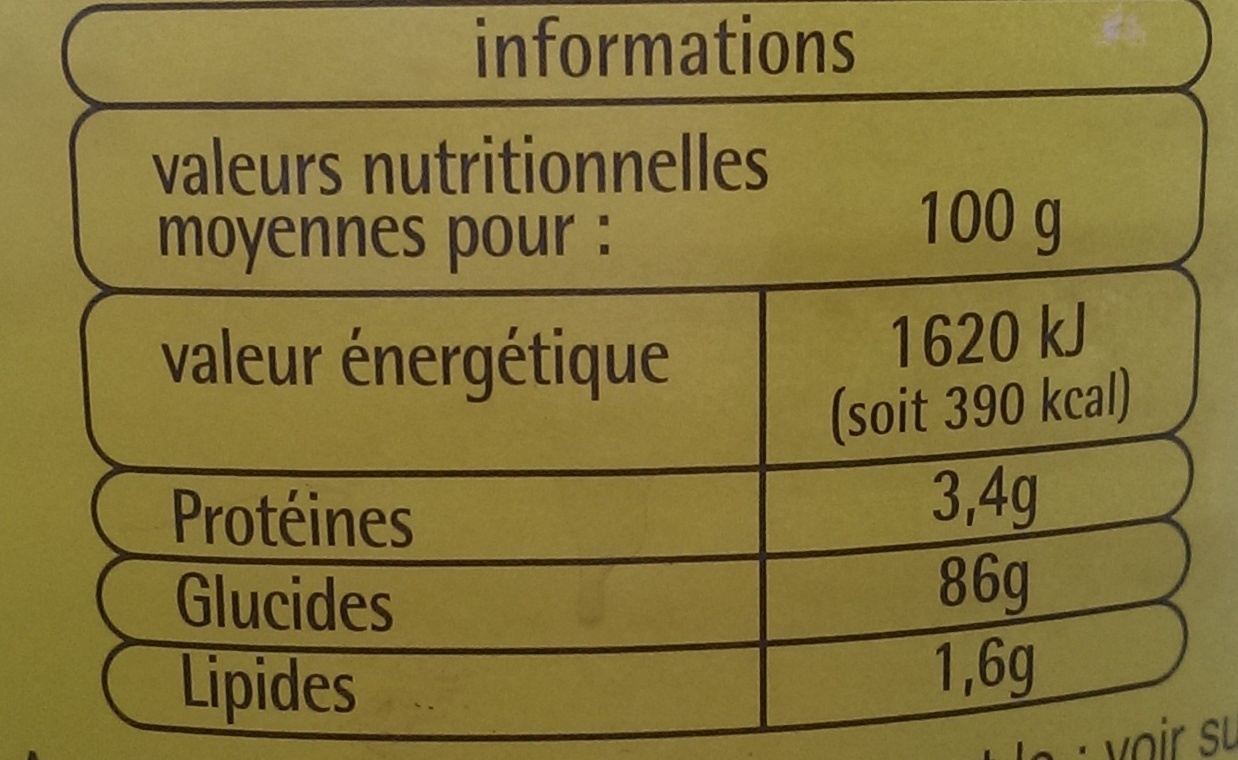 Préparation pour boisson instantanée - 800 g - Pouce (Auchan) - Informations nutritionnelles
