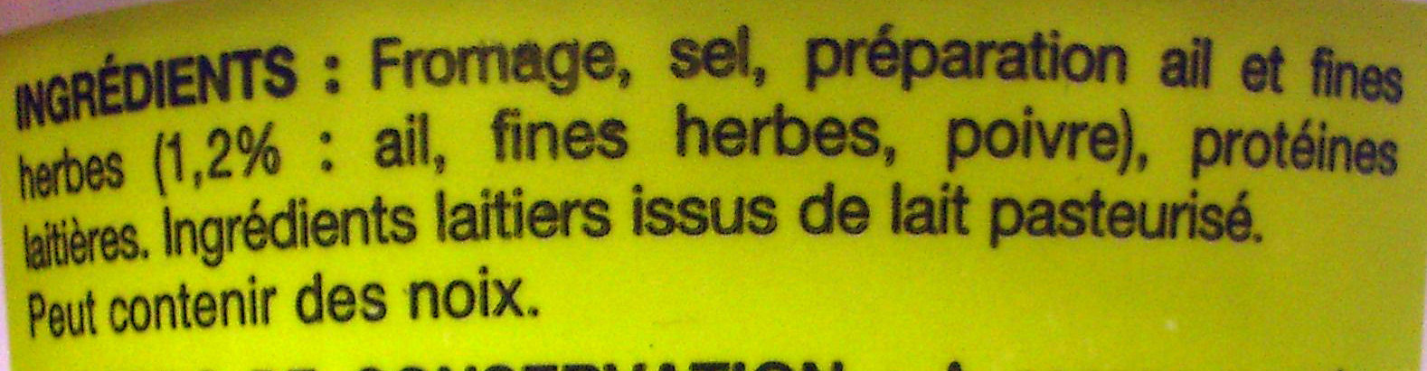Fromage ail et fines herbes (25 % MG)  - Ingrédients