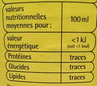 Limonade - Informations nutritionnelles