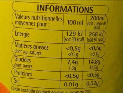 Pulpée Orange - Informations nutritionnelles - fr