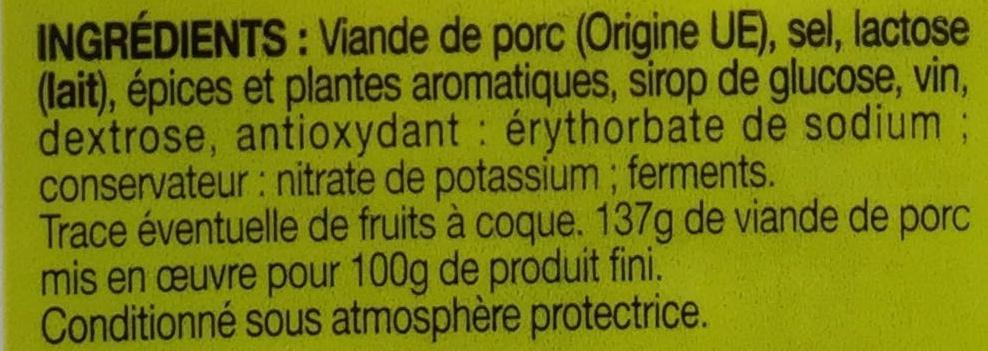 Rosette 12 tranches - Ingrédients