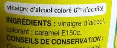 Vinaigre d'alcool - Ingrediënten
