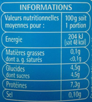 Fromage blanc 0% - Nutrition facts