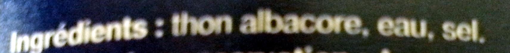 Thon albacore au naturel - Ingredientes
