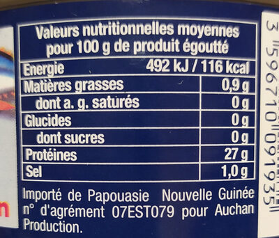Thon albacore au naturel - Valori nutrizionali - fr