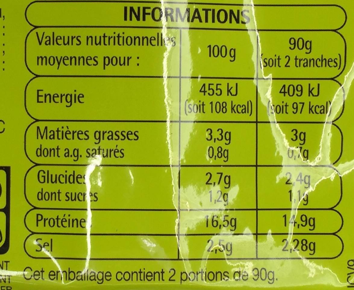 Blanc de poulet (4 tranches) - Informations nutritionnelles - fr
