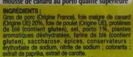 Mousse de canard au porto - Inhaltsstoffe - fr