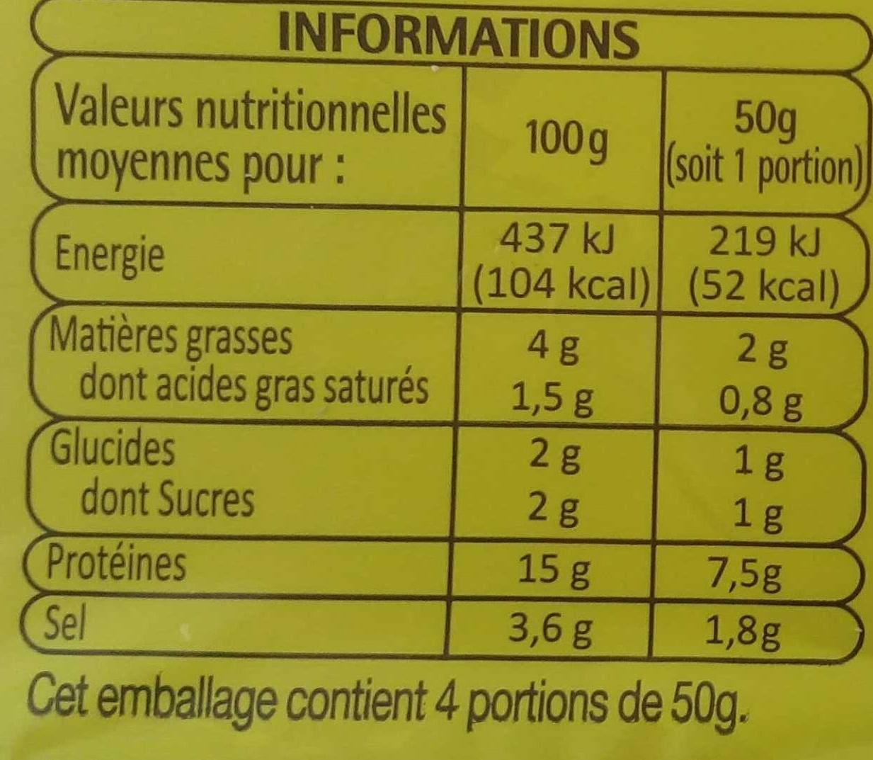Dés de jambon cuit (découenné - dégraissé) - Informations nutritionnelles - fr