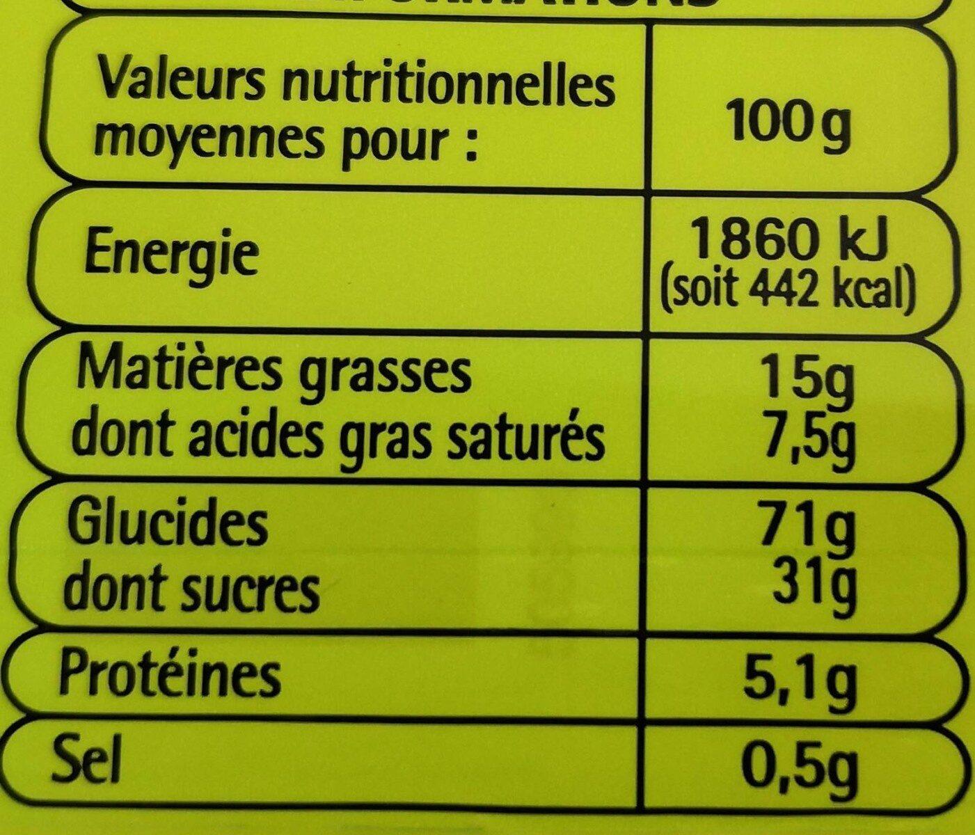 12 Tartelettes à la fraise - Informations nutritionnelles