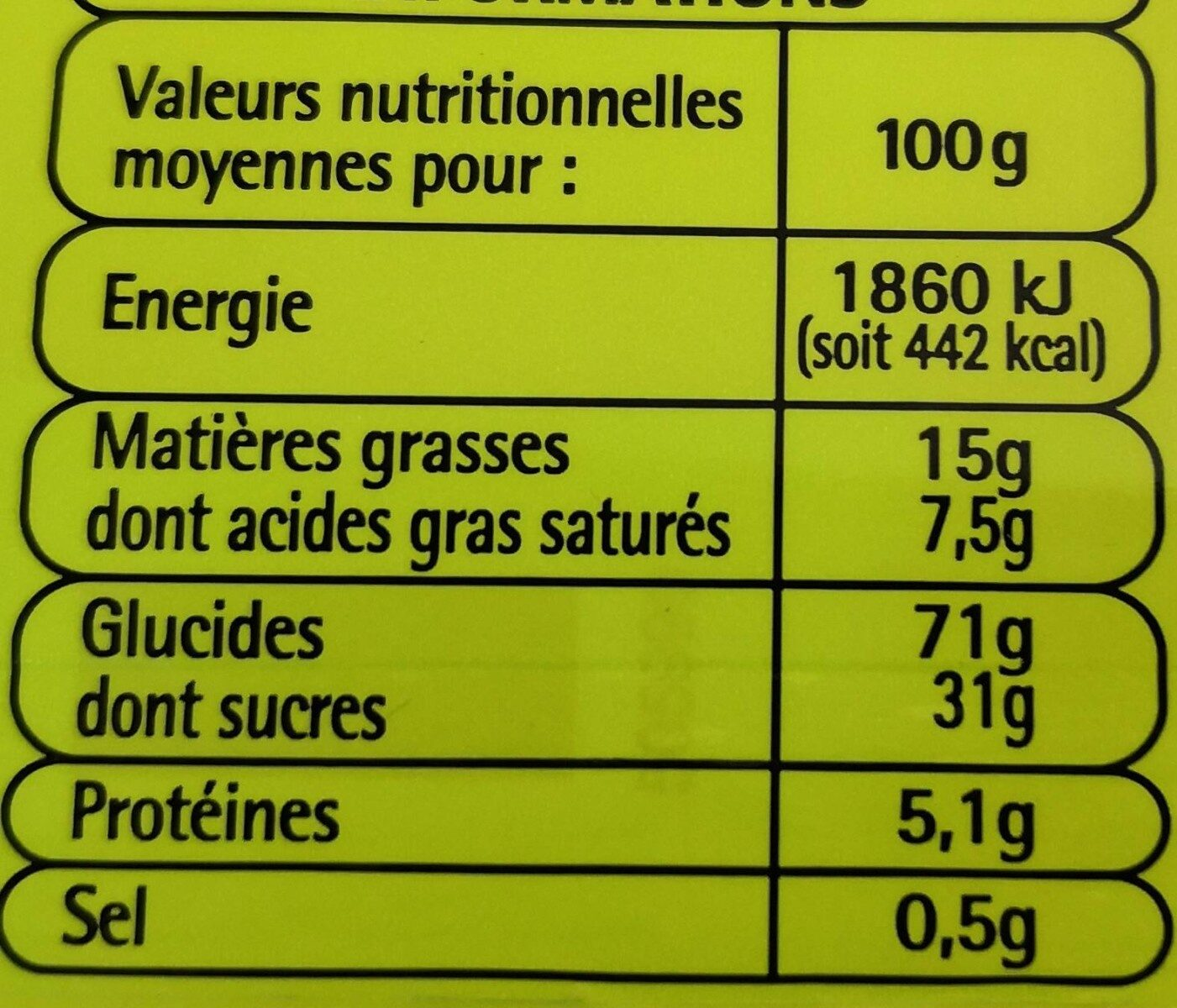 12 Tartelettes à la fraise - Voedingswaarden - fr