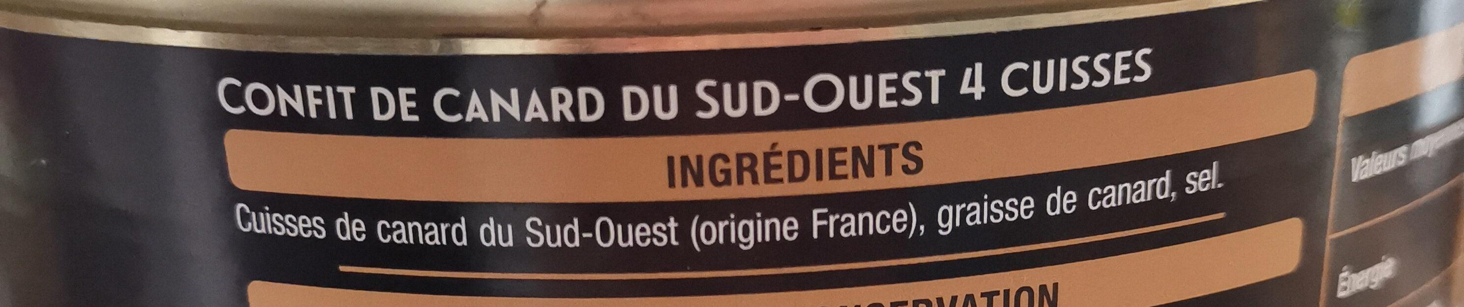 Confit De Canard du sud-ouest 4 cuisses - Ingredienti - fr