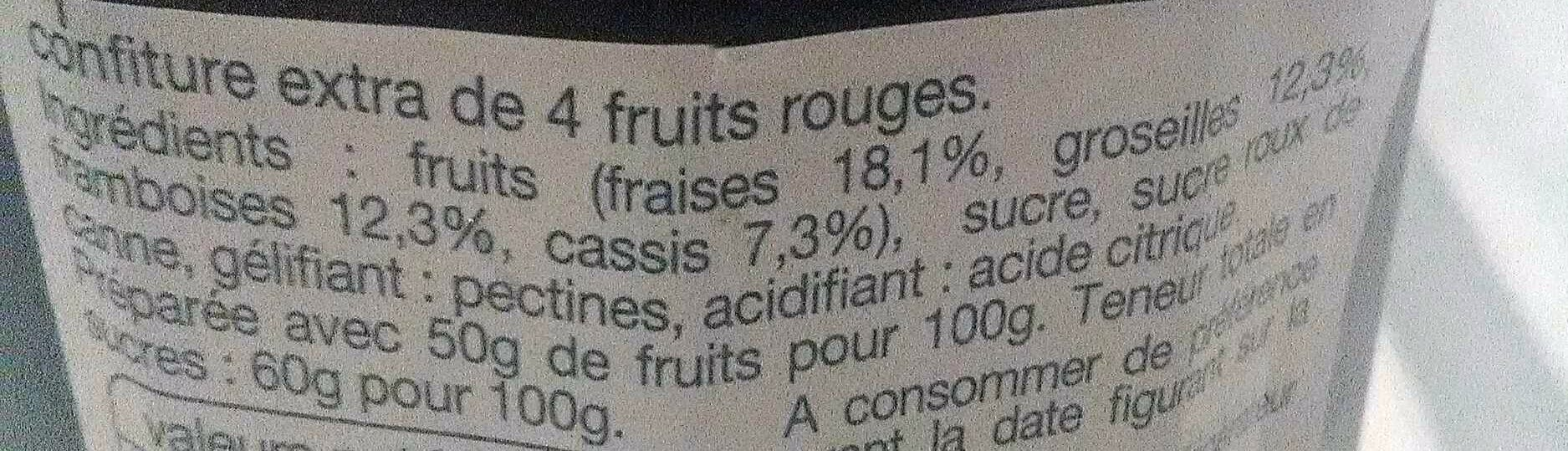 Auchan Confiture 3 Fruits Rouges - Ingrédients