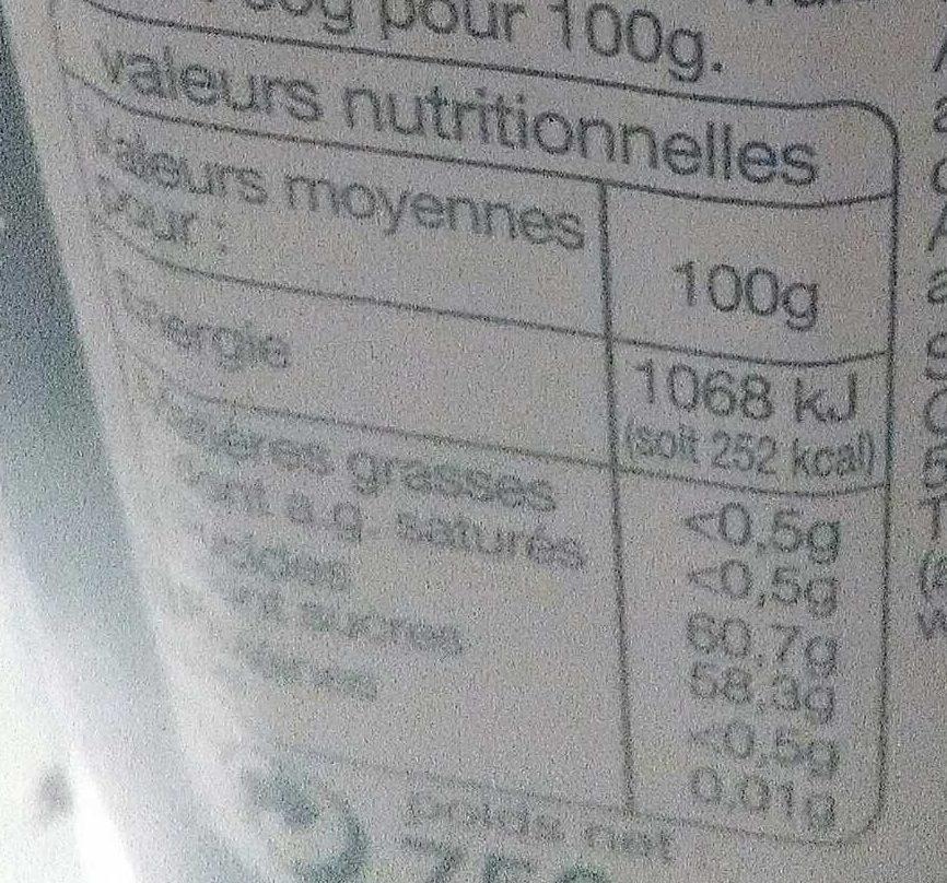 Auchan Confiture 3 Fruits Rouges - Informations nutritionnelles