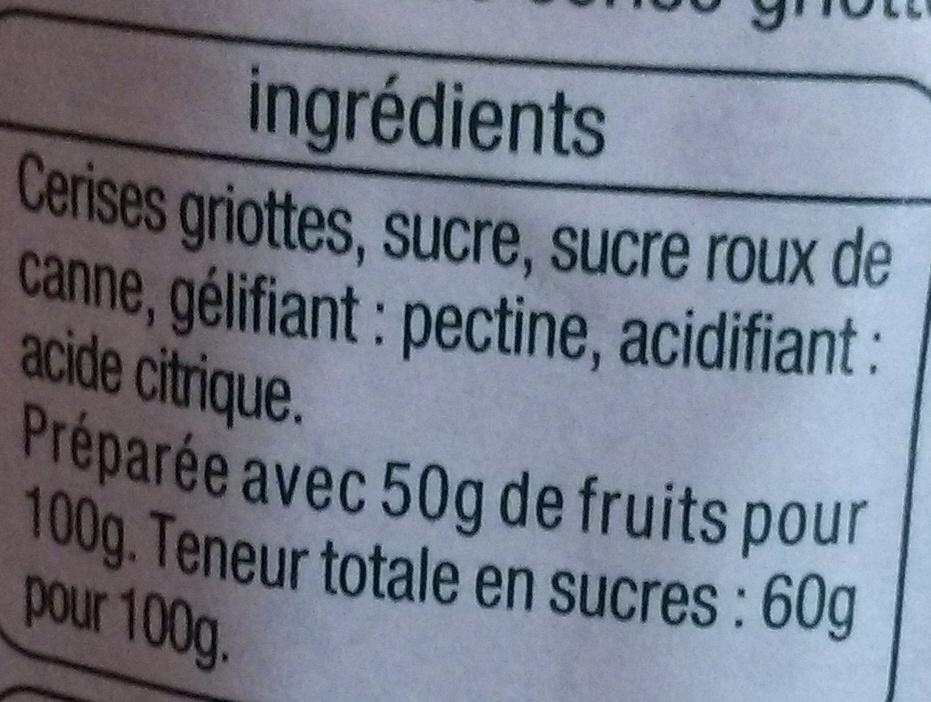 Confiture extra de cerise griotte - Ingrédients - fr