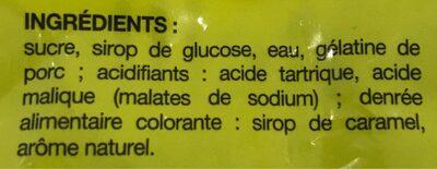 Bouteilles goût cola 200g - Ingredients - fr