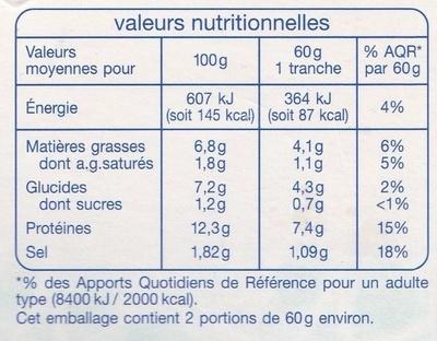 Terrine aux 3 poissons - Informations nutritionnelles - fr