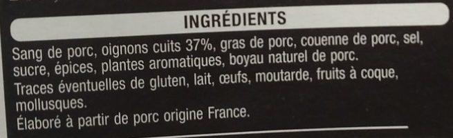 Boudins noirs aux oignons - Ingrédients - fr