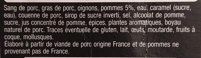 Boudin noir aux pommes 2x125 g - Ingrédients - fr
