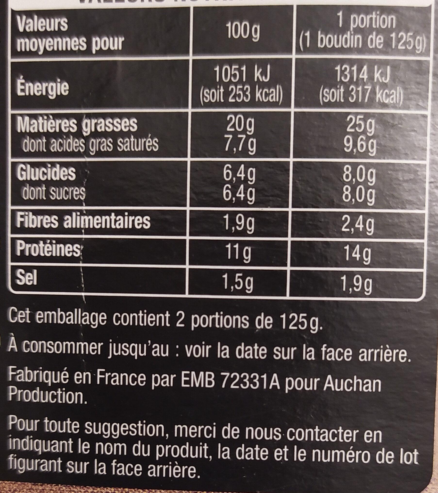 Boudin noir aux pommes 2x125 g - Informations nutritionnelles - fr