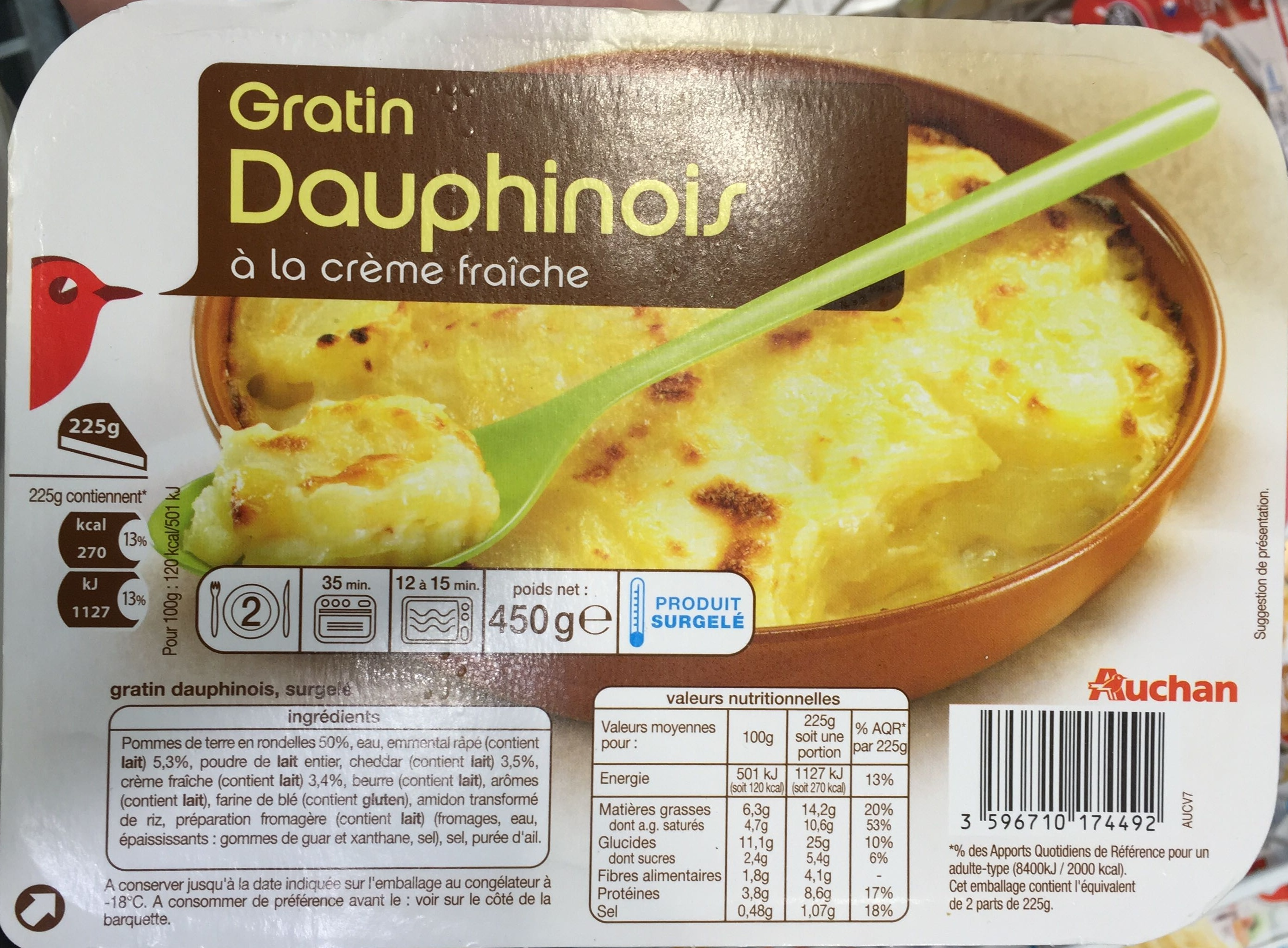 gratin dauphinois la cr me fra che surgel auchan 450 g. Black Bedroom Furniture Sets. Home Design Ideas