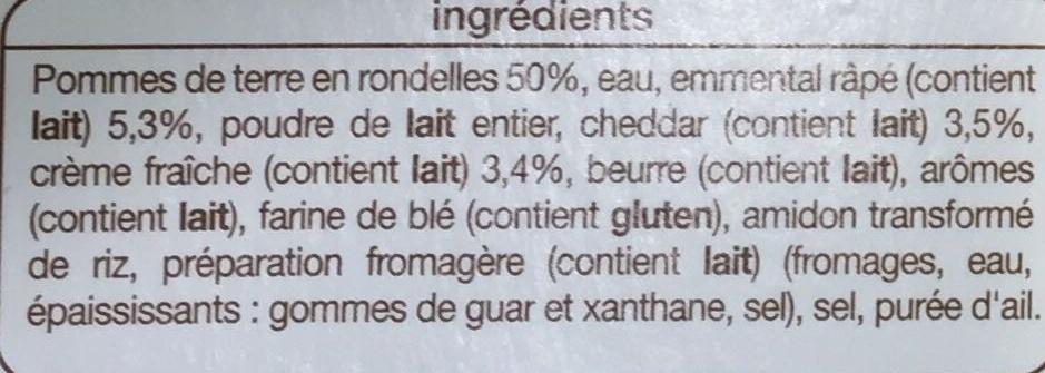 Gratin Dauphinois à la crème fraîche, Surgelé - Inhaltsstoffe - fr