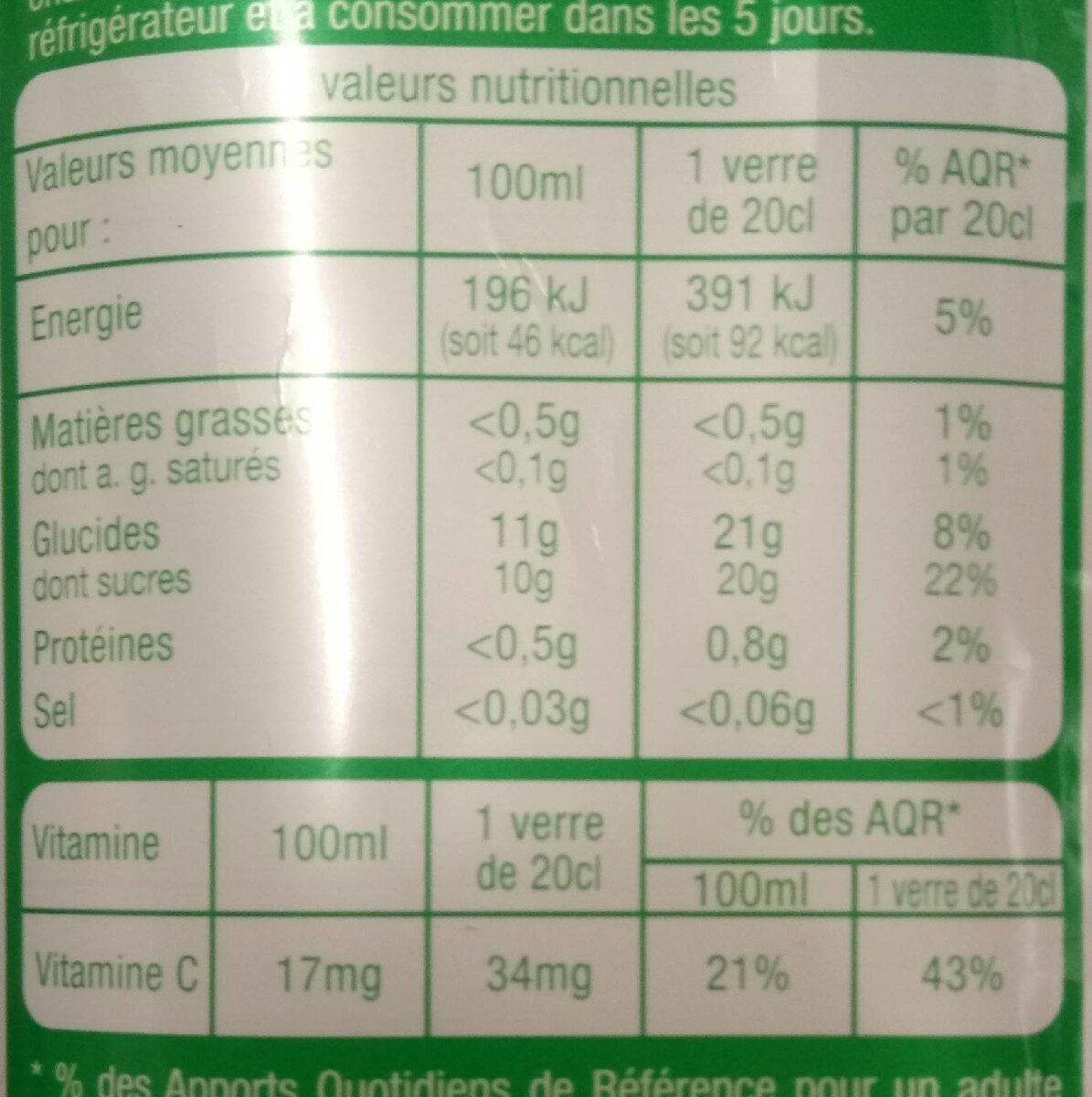 Multifruits pur jus - Valori nutrizionali - fr
