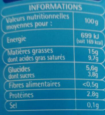 Creme fraiche légère - Voedingswaarden - fr