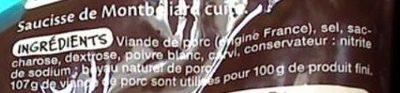 Saucisses de Montbéliard - Ingrédients - fr