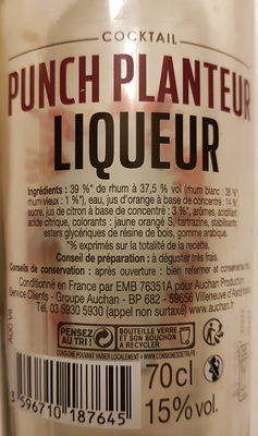Auchan Punch Planteur - - Ingrediënten - fr