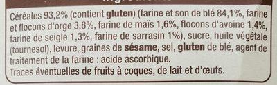 Biscottes aux six céréales - Ingrédients - fr