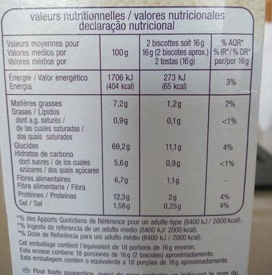 Biscottes aux six céréales - Informations nutritionnelles - fr