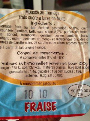 Rik & Rok mousse de fromage frais aux fruits - Voedingswaarden - fr