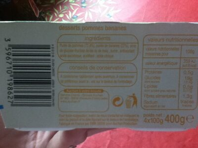 Desserts Pomme Banane - Nutrition facts - fr