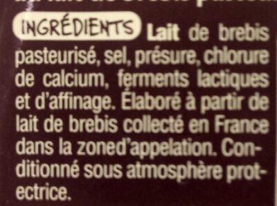 Ossau Iraty - Ingredients - fr