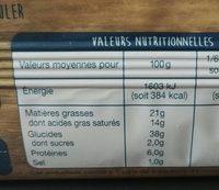 La Pâte feuilletée - Informations nutritionnelles