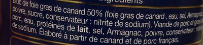 Médaillon de foie de canard 50% foie gras canard - Ingredients - fr
