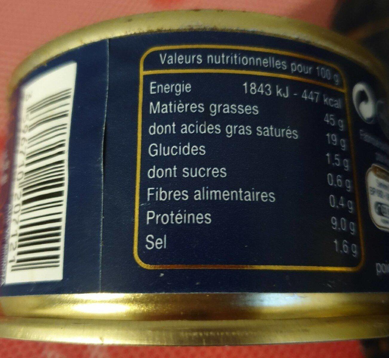 Médaillon de foie de canard 50% foie gras canard - Nutrition facts - fr
