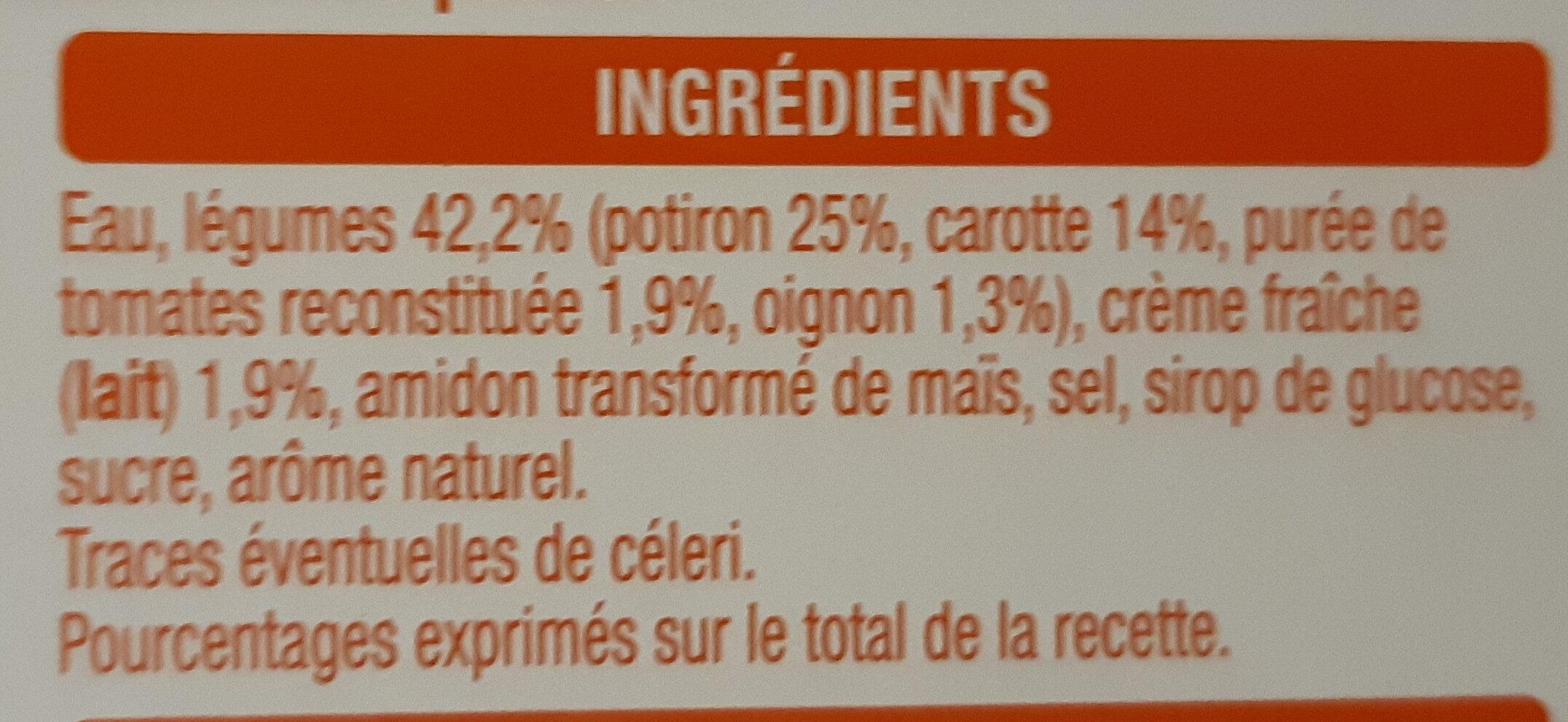 Velouté de Potiron 2x30cl - Ingredients - fr