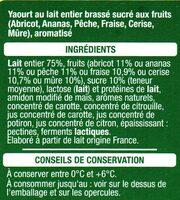 Yaourt au lait entier brassé sucré aux fruits - Ingredients