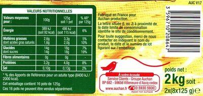 Yaourt au lait entier brassé sucré aux fruits - Nutrition facts