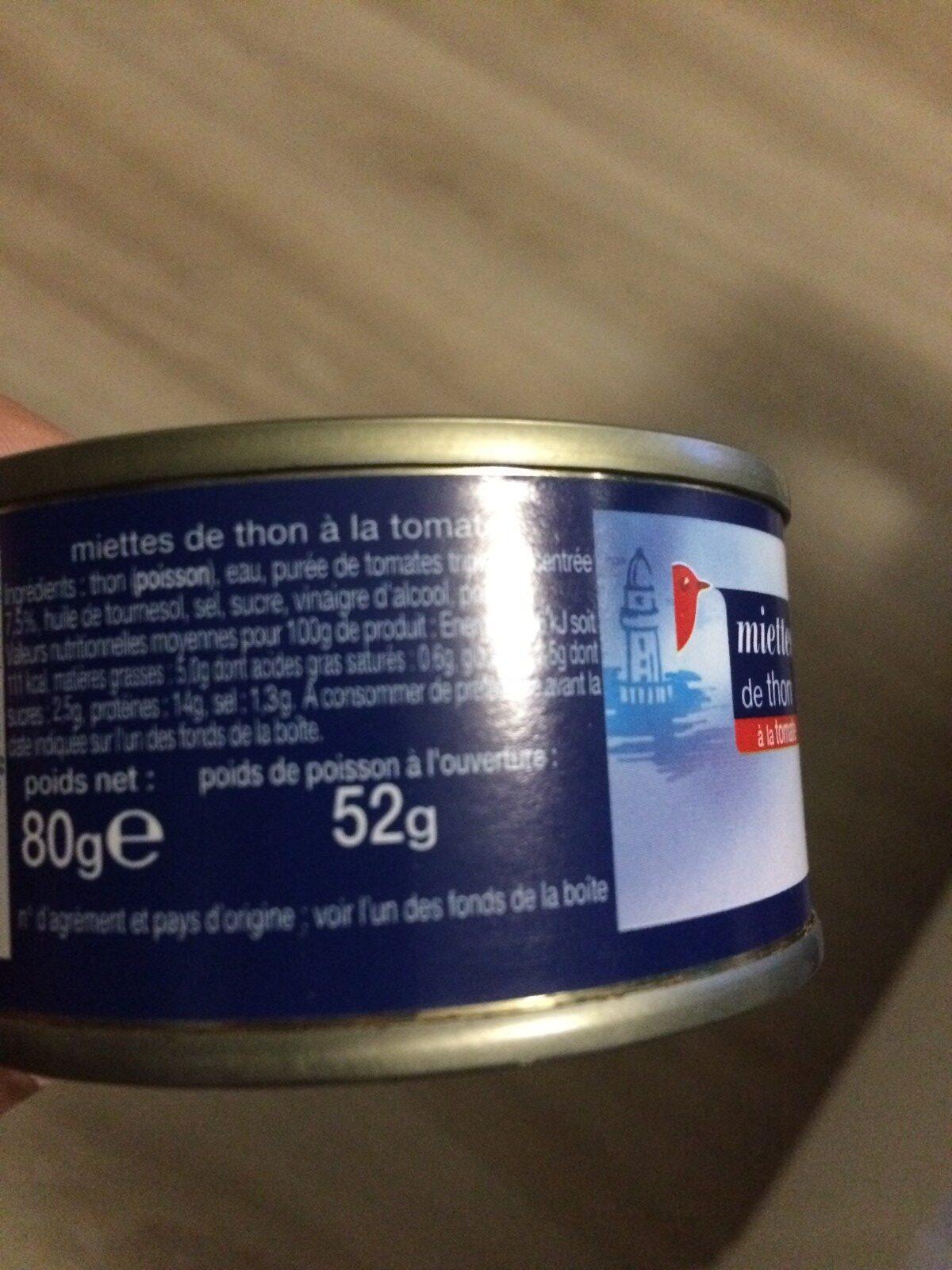 Miette De Thon A La Tomate 80g - Ingredienti - fr
