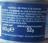 Miette De Thon A La Tomate 80g - Valori nutrizionali - fr