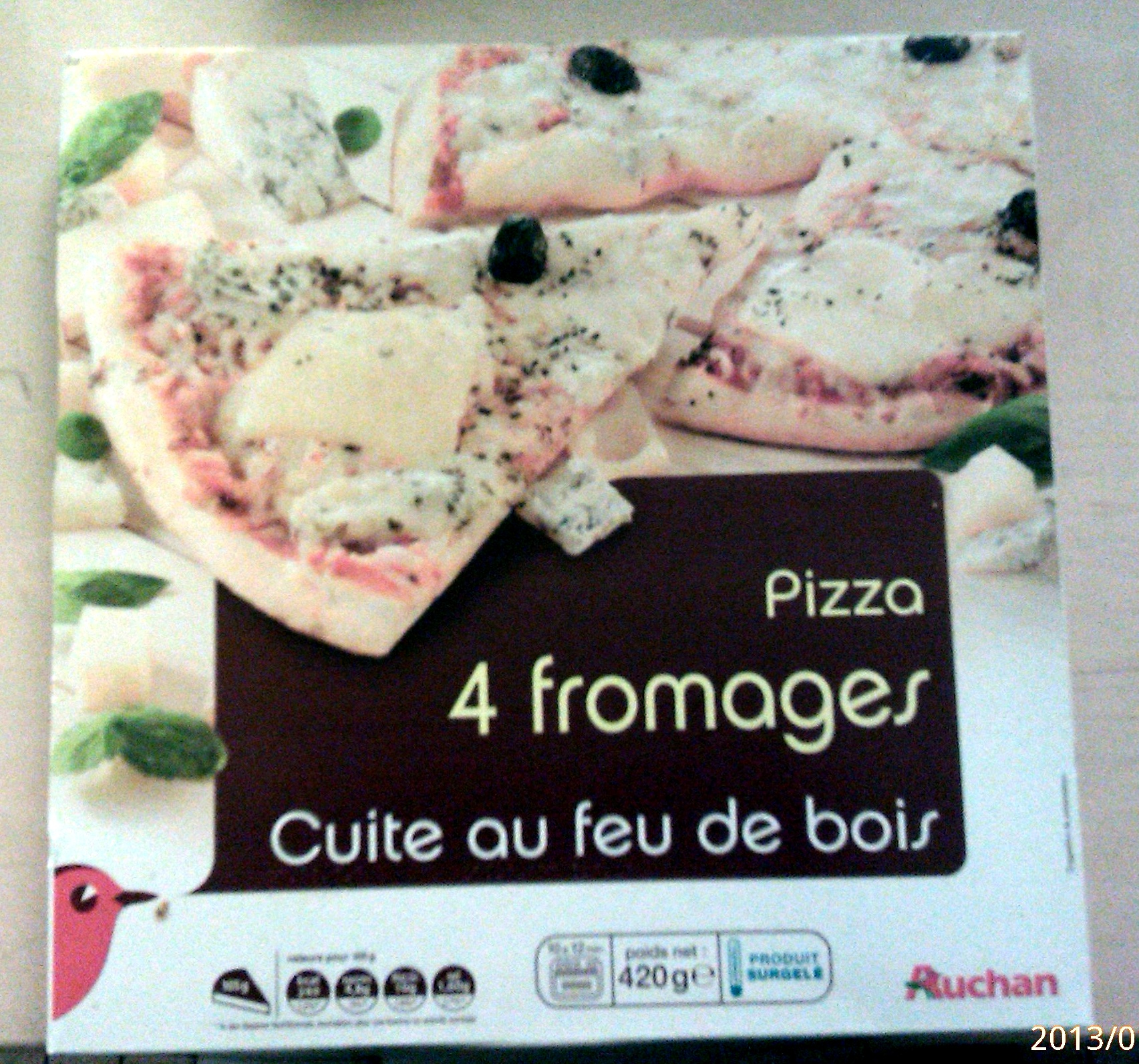 pizza 4 fromage cuite au feu de bois auchan 420 g. Black Bedroom Furniture Sets. Home Design Ideas