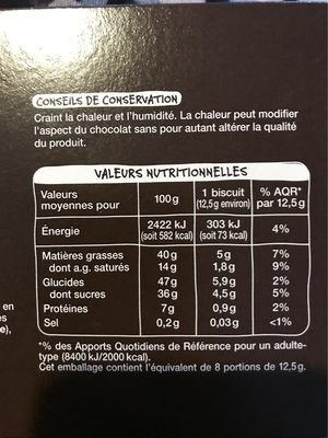8 douceurs croustillantes aux noisettes - Nutrition facts