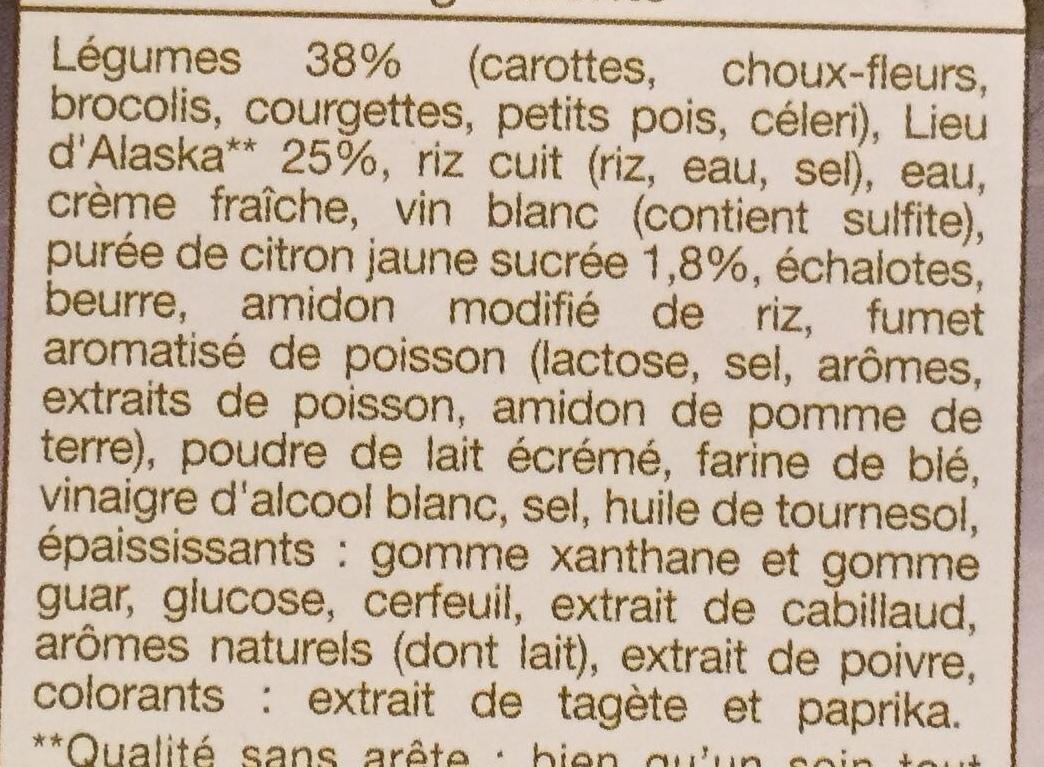 Colin d'Alaska, légumes et riz sauce citron - Ingrediënten